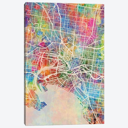 Melbourne Map Color Canvas Print #MTO2826} by Michael Tompsett Art Print