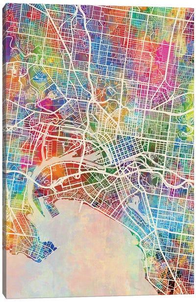 Melbourne Map Color Canvas Art Print
