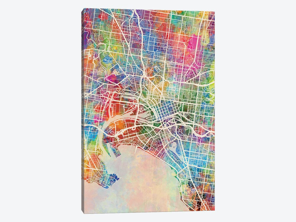 Melbourne Map Color by Michael Tompsett 1-piece Canvas Wall Art