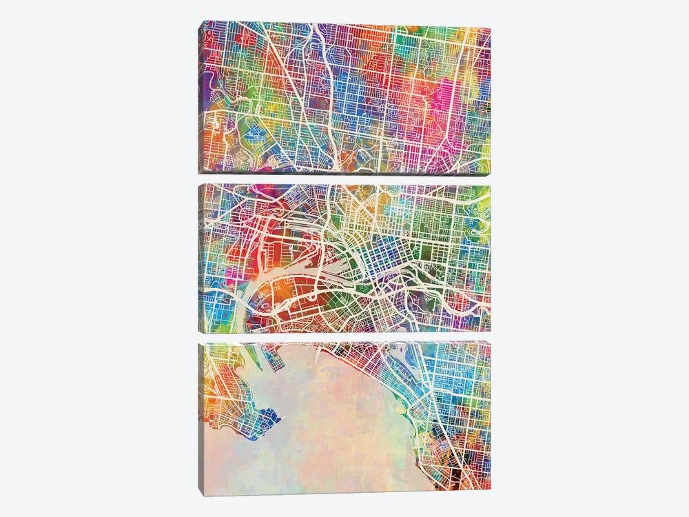 Melbourne Map Color by Michael Tompsett 3-piece Canvas Artwork