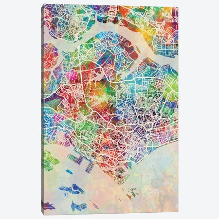 Singapore Map Color 3-Piece Canvas #MTO2827} by Michael Tompsett Art Print