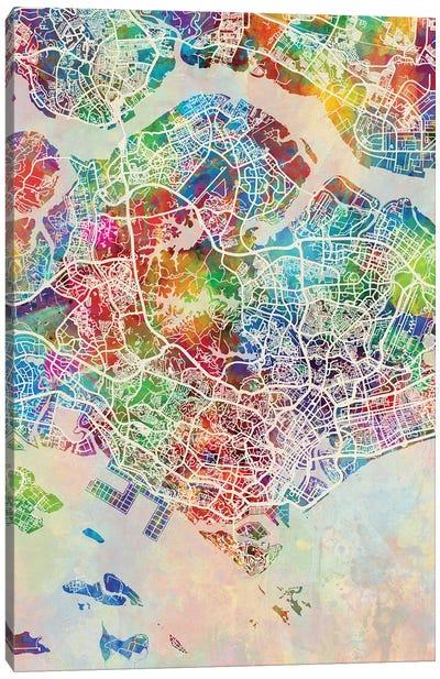 Singapore Map Color Canvas Art Print