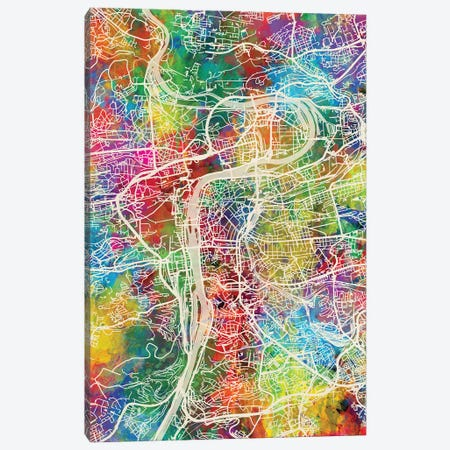 Prague Map Color Canvas Print #MTO2828} by Michael Tompsett Canvas Art
