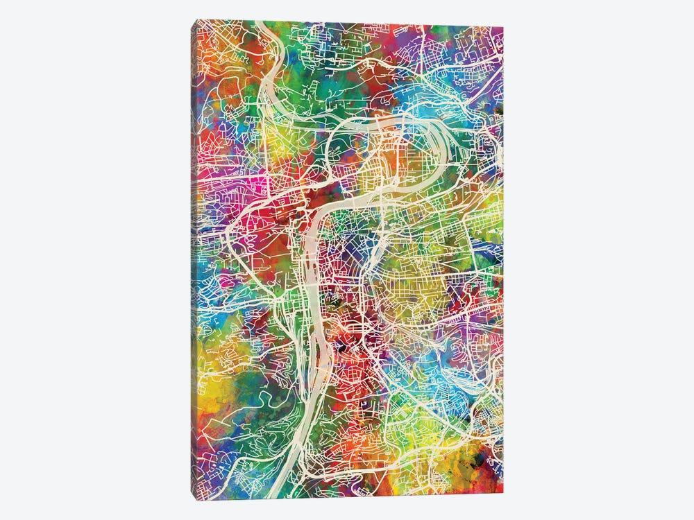 Prague Map Color by Michael Tompsett 1-piece Canvas Artwork