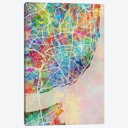 Lisbon Portugal Map Color Canvas Print #MTO2829} by Michael Tompsett Canvas Wall Art