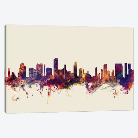 Honolulu, Hawaii, USA On Beige Canvas Print #MTO282} by Michael Tompsett Art Print