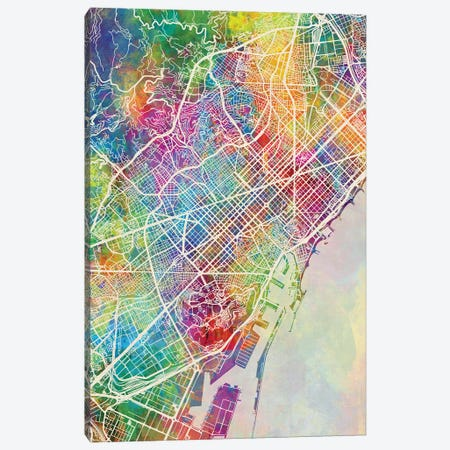 Barcelona Spain Map Color 3-Piece Canvas #MTO2830} by Michael Tompsett Canvas Art Print