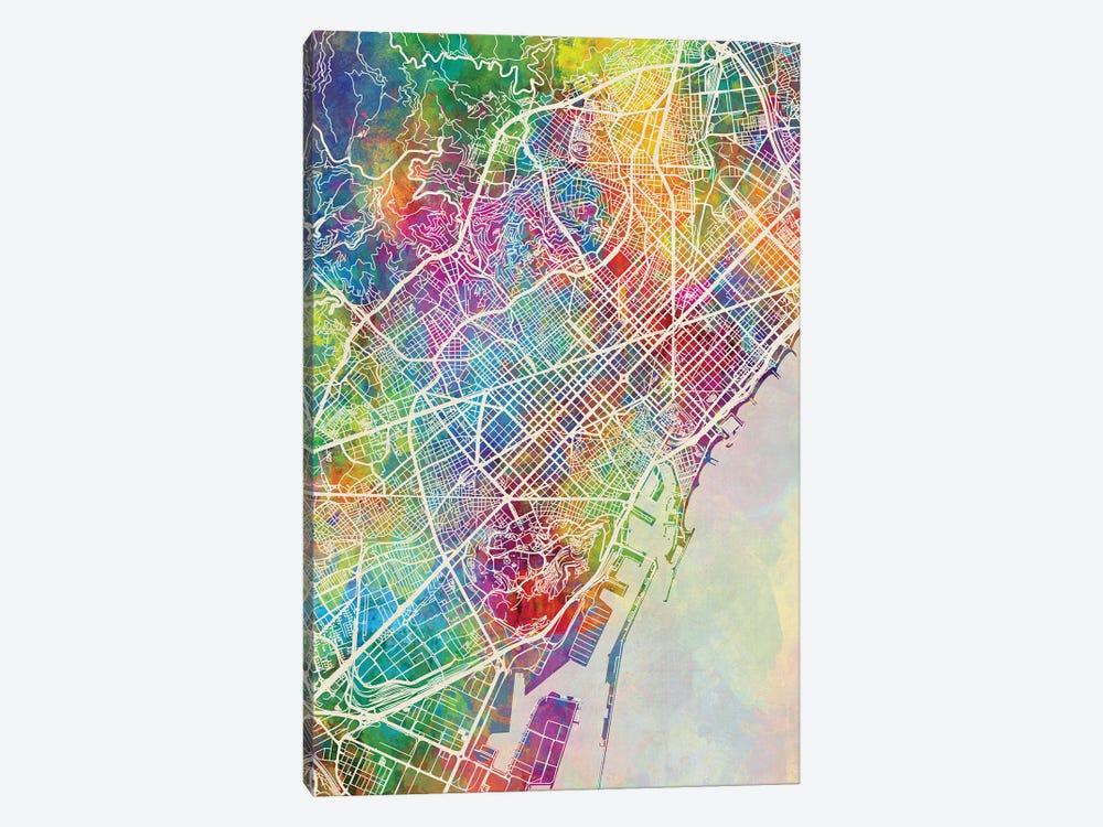 Barcelona Spain Map Color by Michael Tompsett 1-piece Canvas Art Print