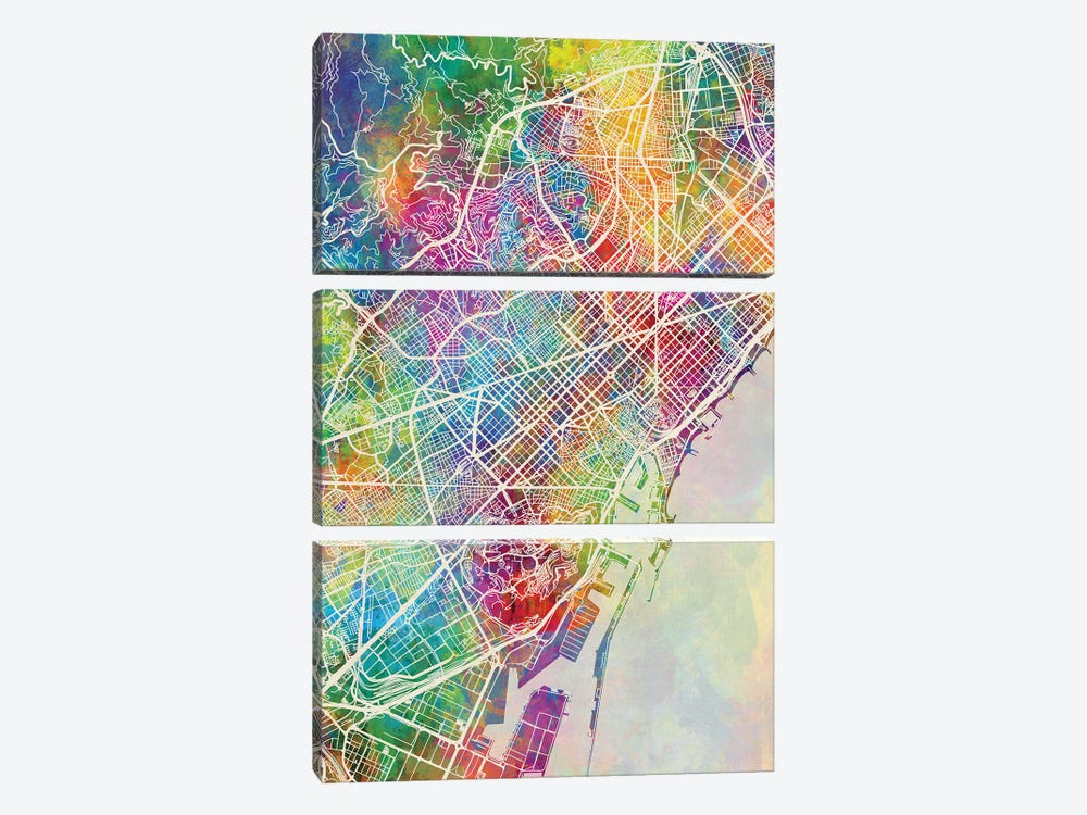 Barcelona Spain Map Color by Michael Tompsett 3-piece Canvas Art Print
