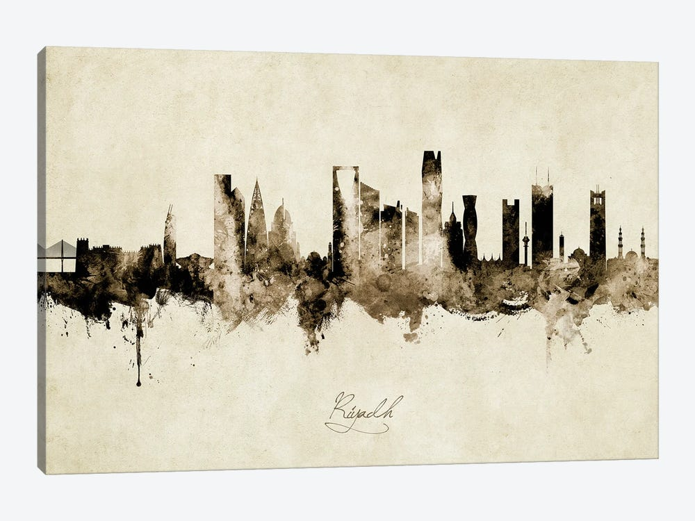 Riyadh Saudi Arabia Skyline Vintage by Michael Tompsett 1-piece Canvas Wall Art