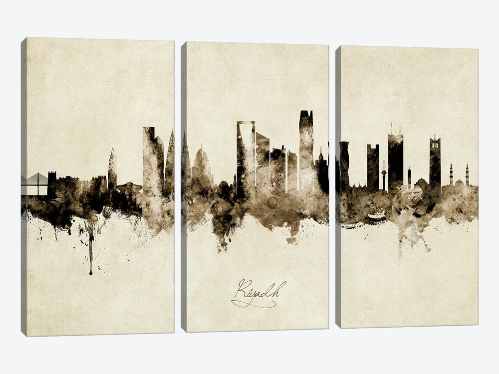 Riyadh Saudi Arabia Skyline Vintage by Michael Tompsett 3-piece Canvas Wall Art