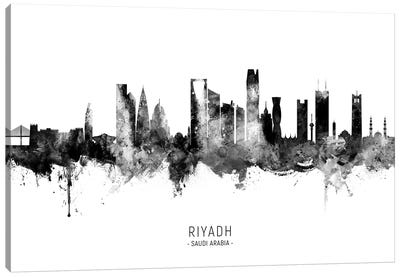 Riyadh Saudi Arabia Skyline Name BW Canvas Art Print