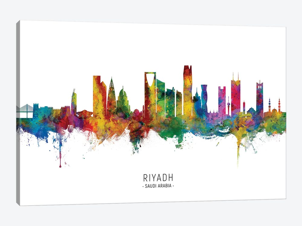 Riyadh Saudi Arabia Skyline City Name by Michael Tompsett 1-piece Canvas Artwork