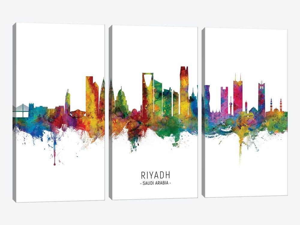 Riyadh Saudi Arabia Skyline City Name by Michael Tompsett 3-piece Canvas Artwork