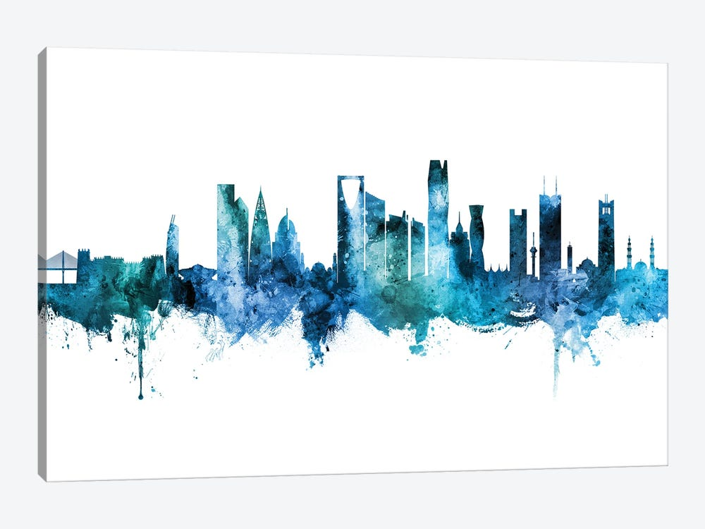 Riyadh Saudi Arabia Skyline Blue Teal by Michael Tompsett 1-piece Canvas Art