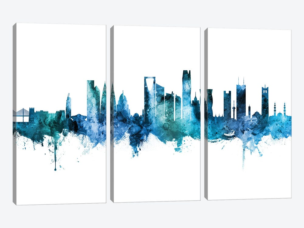 Riyadh Saudi Arabia Skyline Blue Teal by Michael Tompsett 3-piece Canvas Artwork