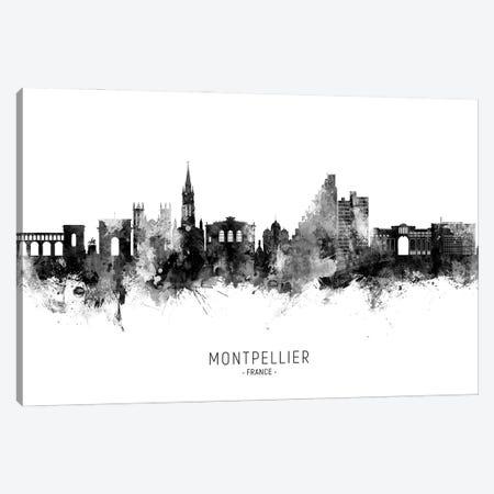 Montpellier France Skyline Name BW Canvas Print #MTO2842} by Michael Tompsett Canvas Artwork