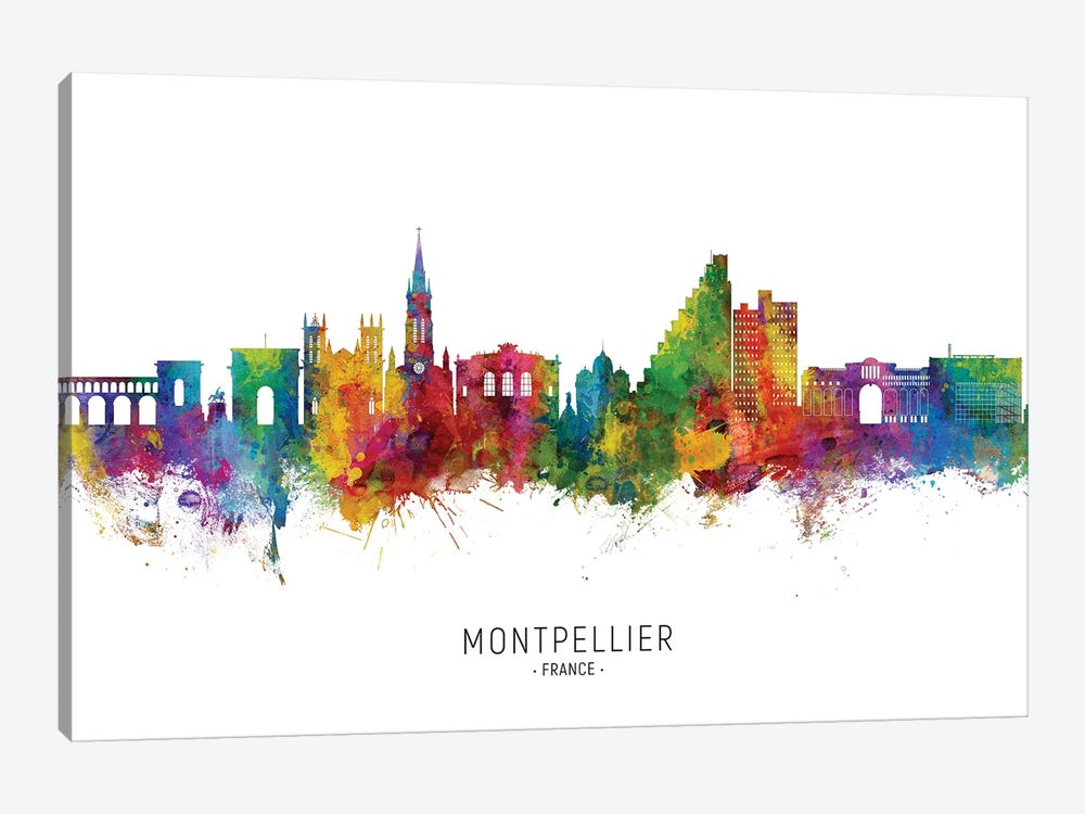 Montpellier France Skyline City Name by Michael Tompsett 1-piece Canvas Print