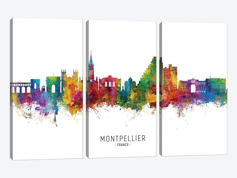 Montpellier France Skyline City Name by Michael Tompsett 3-piece Canvas Art Print