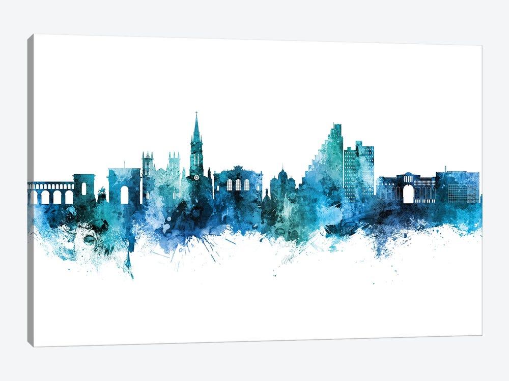 Montpellier France Skyline Blue Teal by Michael Tompsett 1-piece Canvas Artwork