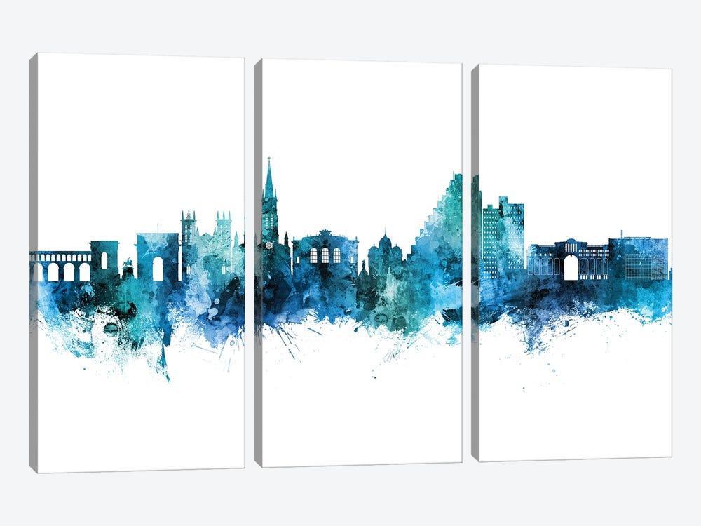 Montpellier France Skyline Blue Teal by Michael Tompsett 3-piece Canvas Art