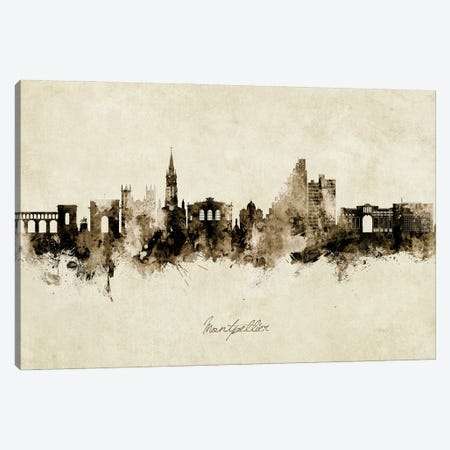 Montpellier France Skyline Vintage Canvas Print #MTO2845} by Michael Tompsett Canvas Art Print