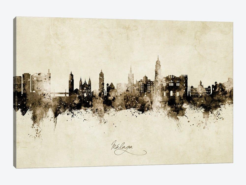 Malaga Spain Skyline Vintage by Michael Tompsett 1-piece Canvas Print