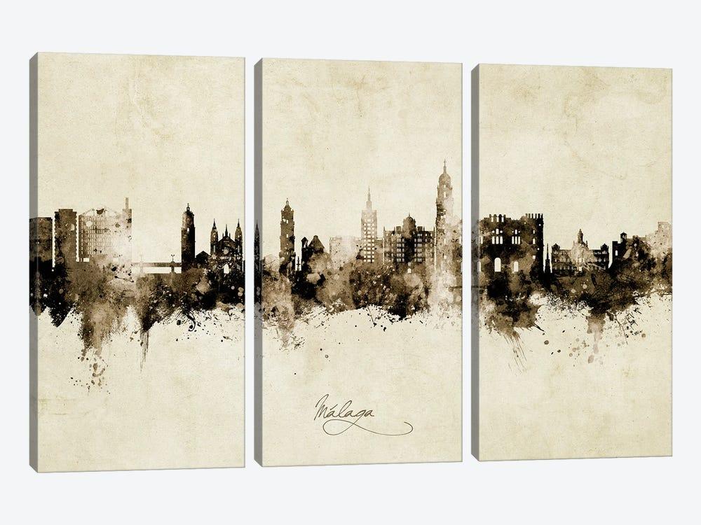 Malaga Spain Skyline Vintage by Michael Tompsett 3-piece Art Print