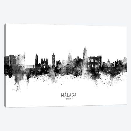 Malaga Spain Skyline Name BW Canvas Print #MTO2848} by Michael Tompsett Canvas Artwork