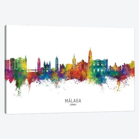 Malaga Spain Skyline City Name Canvas Print #MTO2849} by Michael Tompsett Canvas Wall Art
