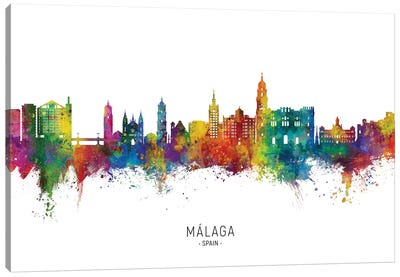 Malaga Spain Skyline City Name Canvas Art Print