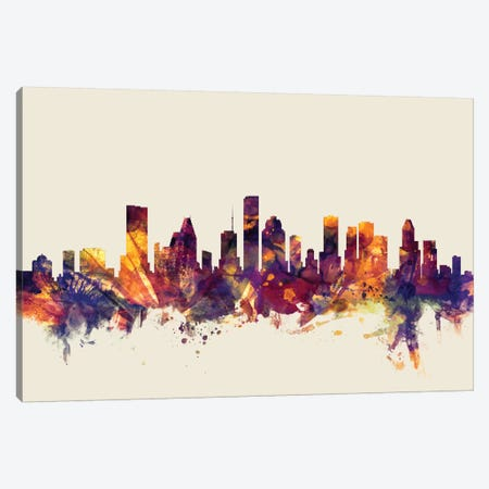 Houston, Texas, USA On Beige Canvas Print #MTO284} by Michael Tompsett Canvas Art