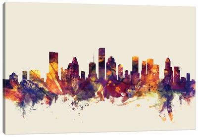 Houston, Texas, USA On Beige Canvas Art Print