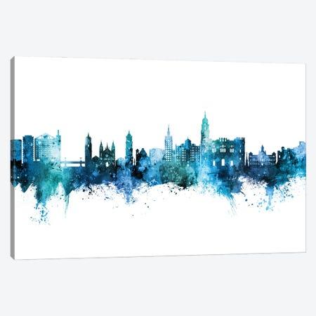 Malaga Spain Skyline Blue Teal Canvas Print #MTO2850} by Michael Tompsett Canvas Art Print