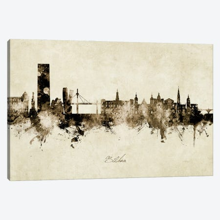 Bilbao Spain Skyline Vintage Canvas Print #MTO2852} by Michael Tompsett Canvas Print