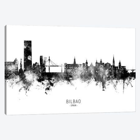 Bilbao Spain Skyline Name BW Canvas Print #MTO2853} by Michael Tompsett Canvas Print