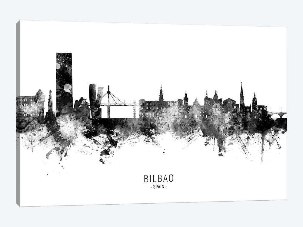 Bilbao Spain Skyline Name BW by Michael Tompsett 1-piece Canvas Wall Art