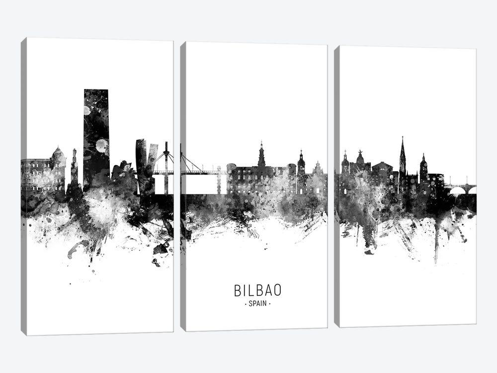 Bilbao Spain Skyline Name BW by Michael Tompsett 3-piece Canvas Wall Art
