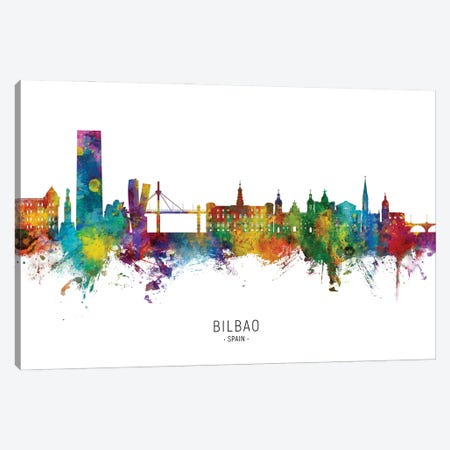 Bilbao Spain Skyline City Name Canvas Print #MTO2854} by Michael Tompsett Canvas Wall Art