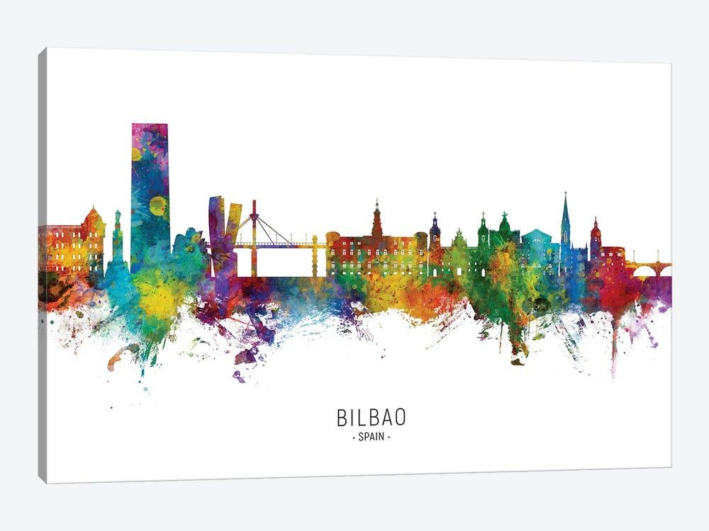 Bilbao Spain Skyline City Name by Michael Tompsett 1-piece Canvas Art Print