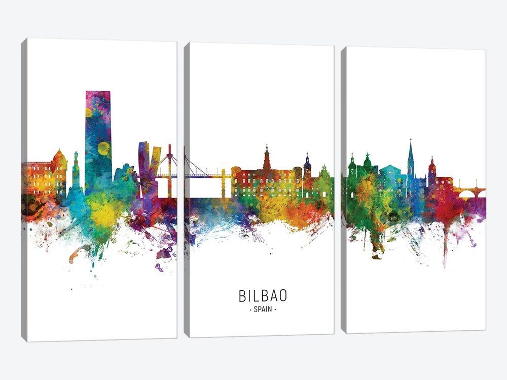Bilbao Spain Skyline City Name by Michael Tompsett 3-piece Canvas Print