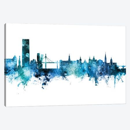 Bilbao Spain Skyline Blue Teal Canvas Print #MTO2855} by Michael Tompsett Canvas Wall Art