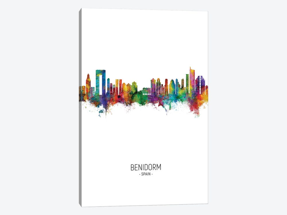 Benidorm Spain Skyline Portrait 1-piece Art Print