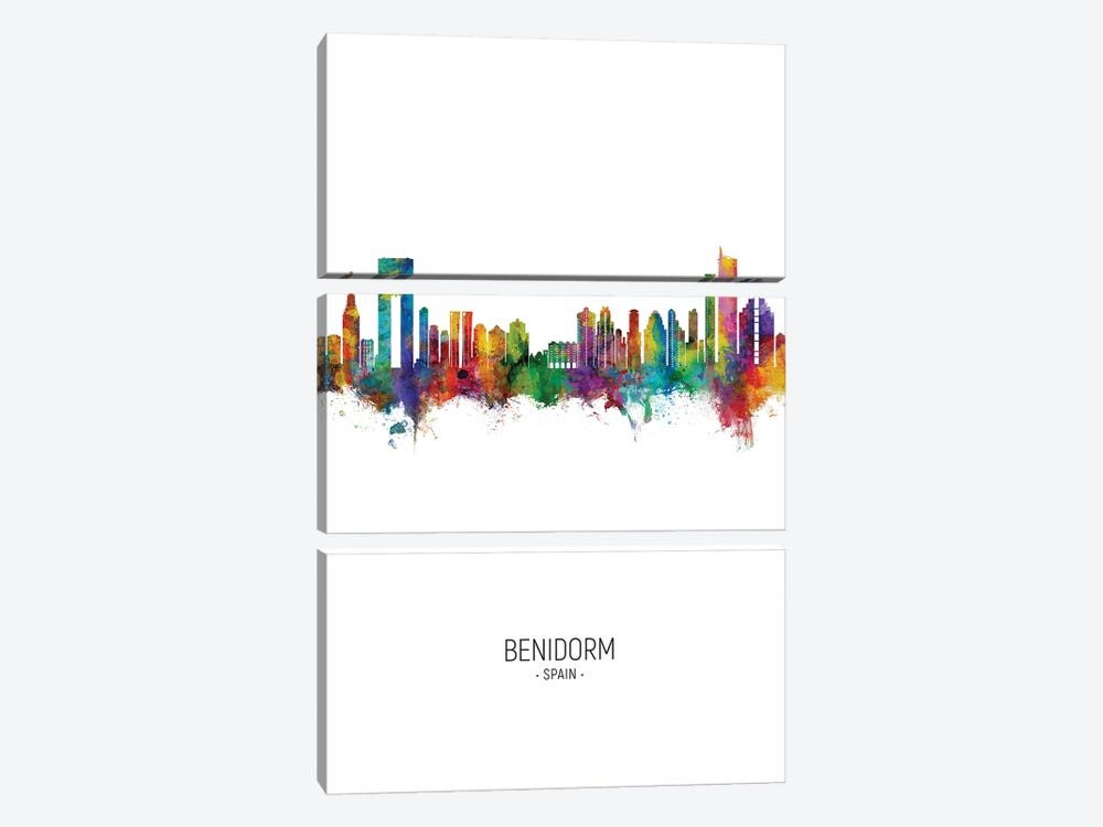 Benidorm Spain Skyline Portrait 3-piece Art Print