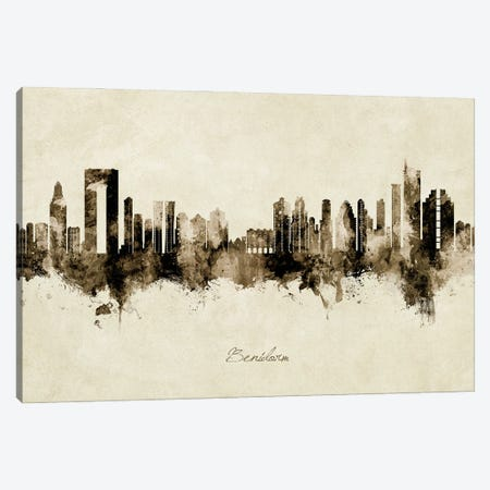 Benidorm Spain Skyline Vintage Canvas Print #MTO2857} by Michael Tompsett Canvas Wall Art
