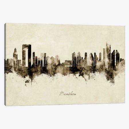 Benidorm Spain Skyline Vintage Canvas Print #MTO2857} by Michael Tompsett Canvas Wall Art