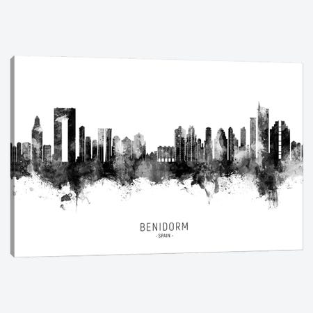 Benidorm Spain Skyline Name BW Canvas Print #MTO2858} by Michael Tompsett Canvas Art Print