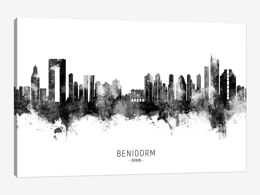 Benidorm Spain Skyline Name BW by Michael Tompsett 1-piece Art Print