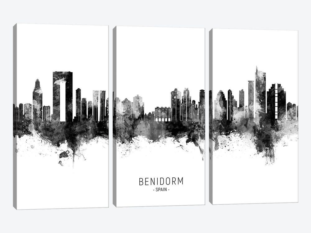 Benidorm Spain Skyline Name BW by Michael Tompsett 3-piece Canvas Print