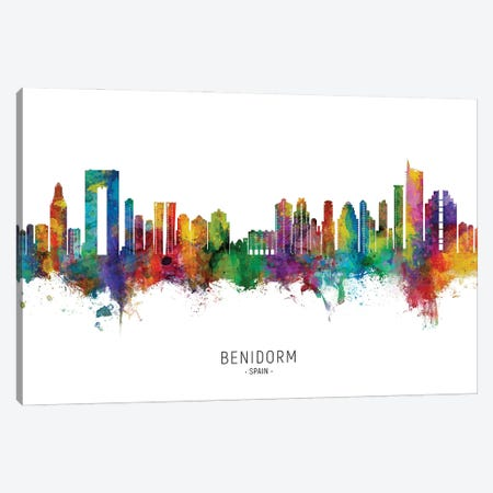 Benidorm Spain Skyline City Name Canvas Print #MTO2859} by Michael Tompsett Canvas Print